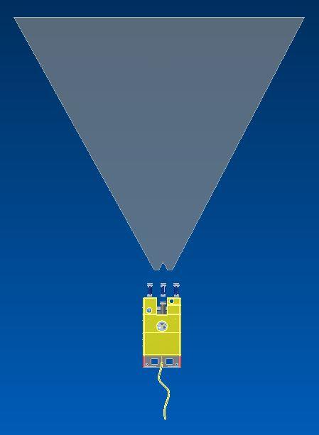 The DexROV 3D perception field of view.