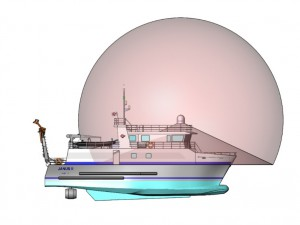 Illustration of the satellite dish positioning on the flybridge of the JANUS II vessel (credit: COMEX)
